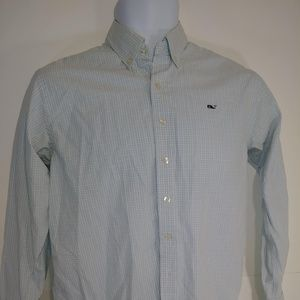 Vineyard Vines Blue White Check Whale Shirt
